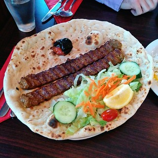Kabob koobideh with freshly baked nan