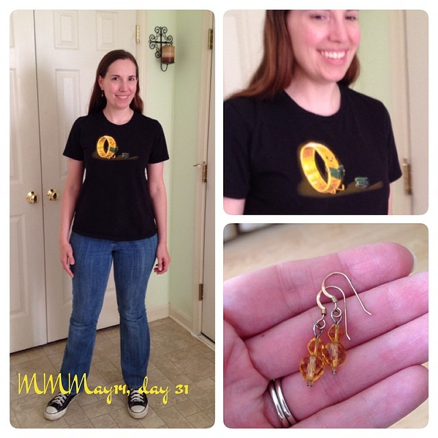 Last day! Me-made jeans and earrings, #lotr t-shirt, Chucks. #mmmay14