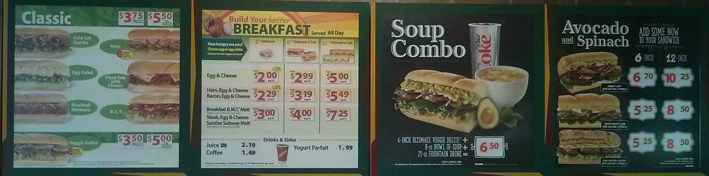 image relating to Printable Subway Menu named Subways Utmost Protein For every Greenback Product or service Savvy Buck
