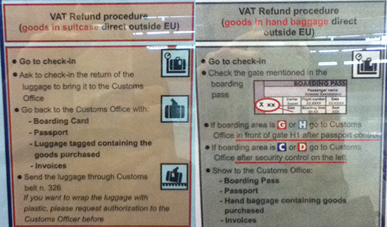VAT refund signs at FCO airport (Rome)