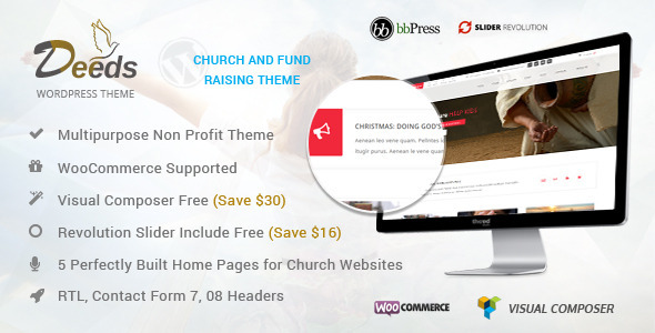 Deeds - Simple Nonprofit Church Website Template