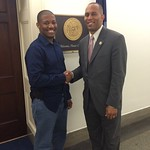 Terrence Thrweatt '15 poses with Congressman Jeffries during his summer internship through the St. Mary's Washington Program.