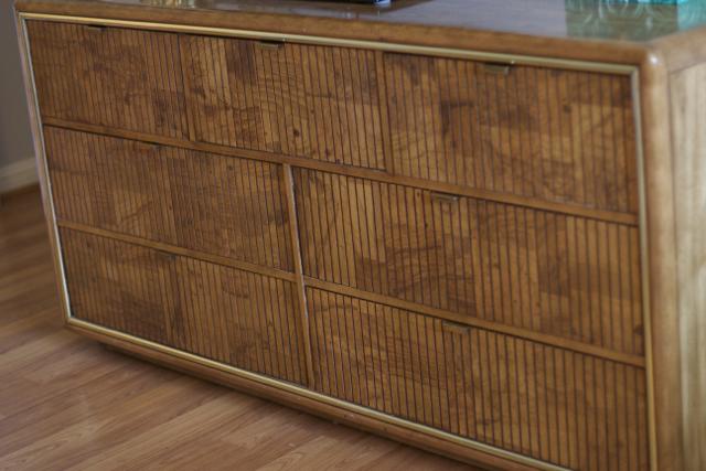 burl wood and brass dresser