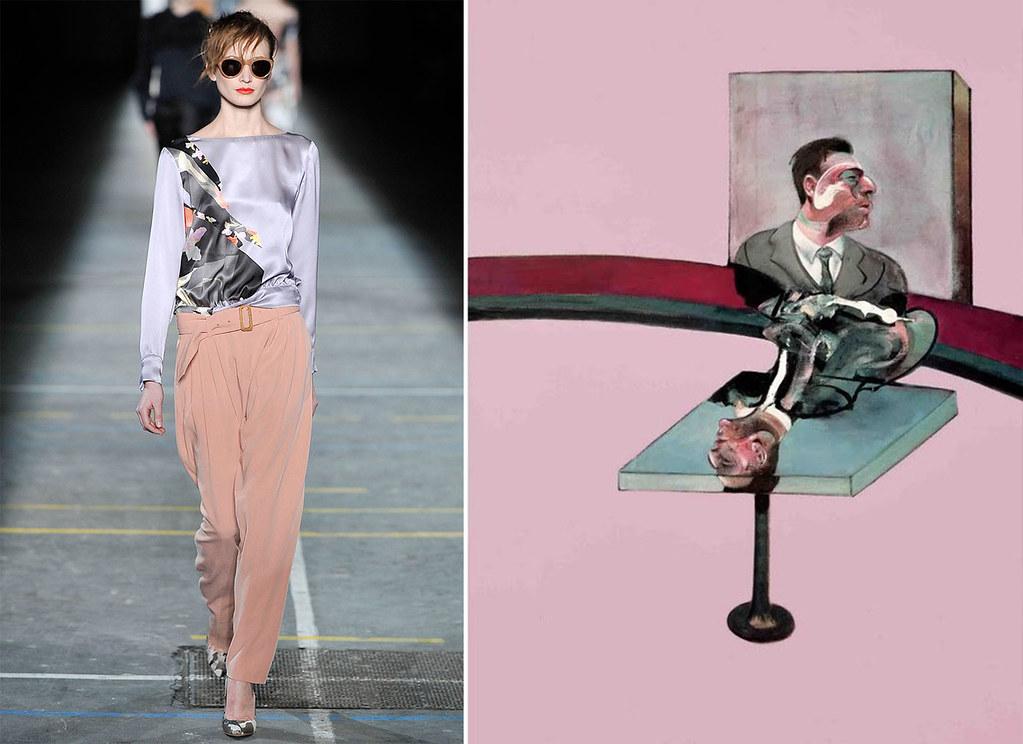 דריס ואן נוטן סתיו 2009, השראה מציוריו האקספרסיביים של פרנסיס בייקון. תמונה: Style.com
