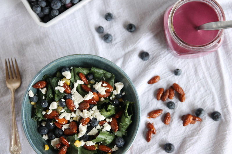 Kale Salad with Candied Almonds, Blueberries and Goat Cheese