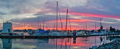 california pink sunset summer sky panorama color reflection northerncalifornia marina bay nikon large july panoramic bayarea sail eastbay stitched alamedacounty sanleandro 2014 d700 mullfordgardens