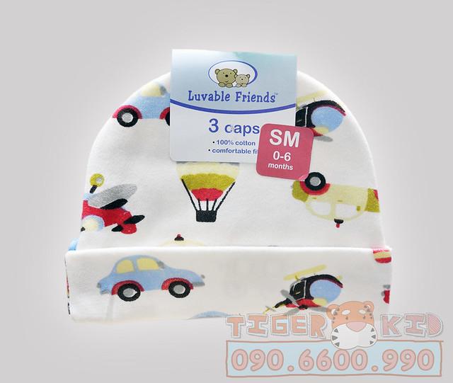 Quần áo trẻ em, bodysuit, Carter, đầm bé gái cao cấp, quần áo trẻ em nhập khẩu, MS 117 Set 3 nón sơ sinh cho bé 0-6 tháng