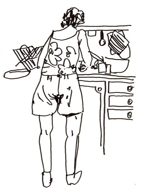farmor när hon diskar eller rensar jordgubbar