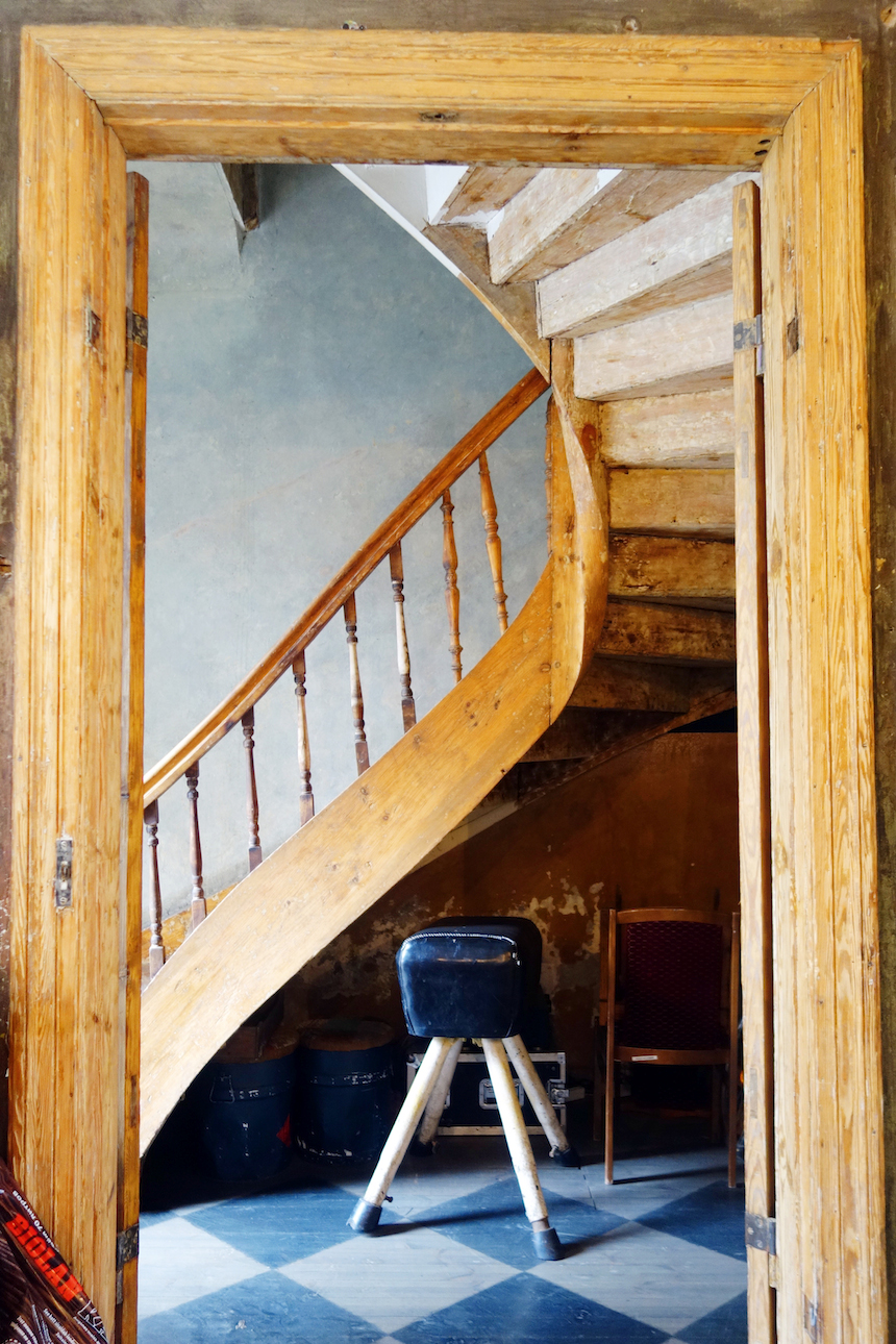 Kanepes cultural center Riga wooden staircase