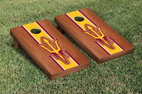 Arizona State ASU Sun Devils Cornhole Game Set Rosewood Stained Stripe