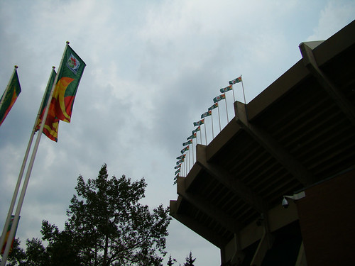 teambates posted a photo:	FIFA flags outside of Commonwealth Stadium.