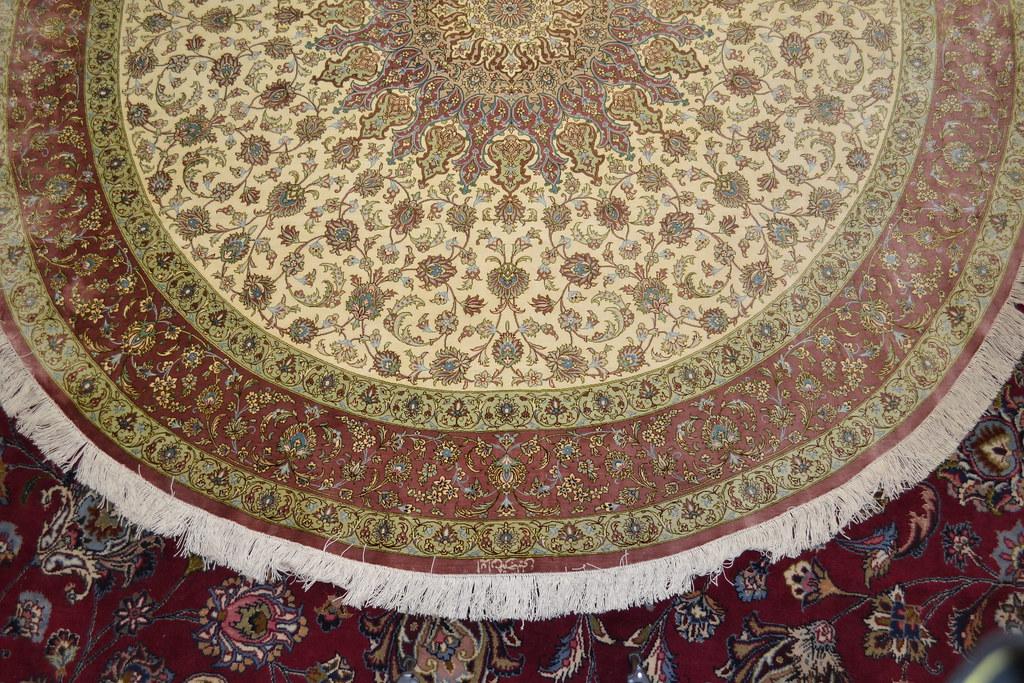 Qum Pure Silk Round 6x6 7x7 Persian Rug