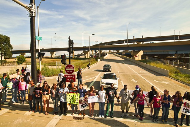 Protestors Block Freeway Ramp