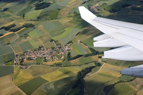turn germany bavaria village aerial fields roads aerialphotography banking airplanewing hirtlbach
