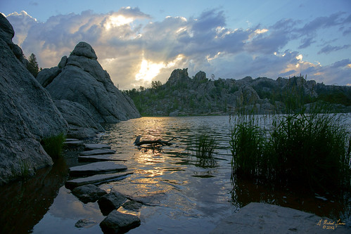 morning light sky usa lake mountains nature water clouds southdakota blackhills sunrise outdoors dawn rocks earth h2o boulders northamerica custerstatepark