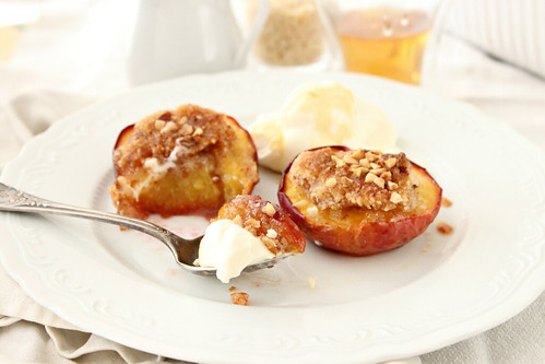 Almond-Crisped Nectarines, Maple Cream