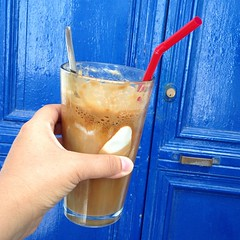 Today's coffee is a Nescafé frappe with ice cream, a sort of coffee milkshake. Nice. #amonthingreece
