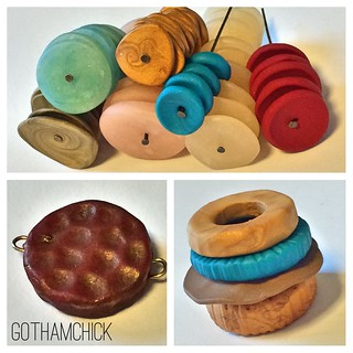 Polymer clay discs- experimenting