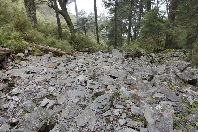 玉山前峰步道的碎石坡