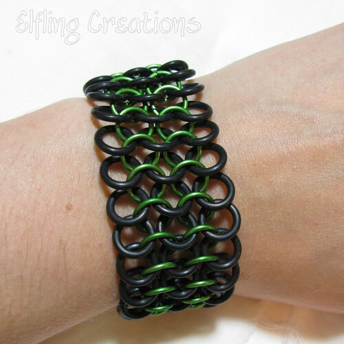 Green and Black Chainmaille Rubber Stretch Bracelet