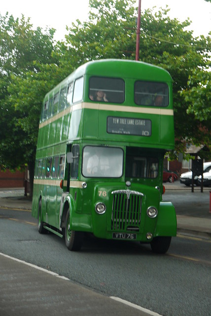 Stalybridge, Hyde, Mossley and Dukinfield Joint Transport Board, Daimler CVG6, VTU 76, outside Dukinfield Town Hall (departing)