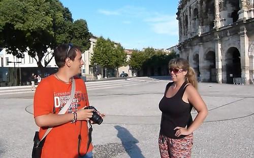 Sele y Rebeca en Nimes (Francia)