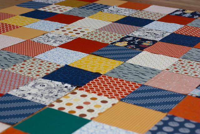 Robot Patchwork quilt in progress