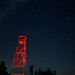fire tower lit with red headlamp by stillwellmike
