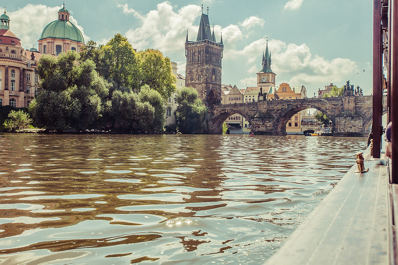 Prague, view from the boat on Vltava river