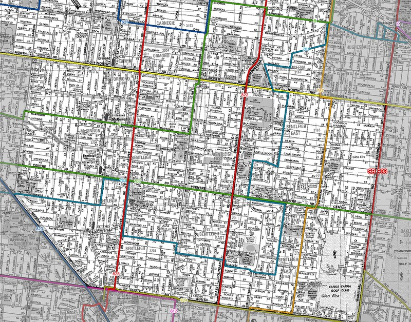 Bentleigh area, proposed bus routes from 2010 reviews