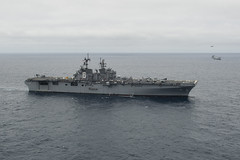 The future USS America (LHA 6) transits the Pacific Ocean en route to its San Diego homeport. (U.S. Navy/MC2 Jonathan A. Colon)