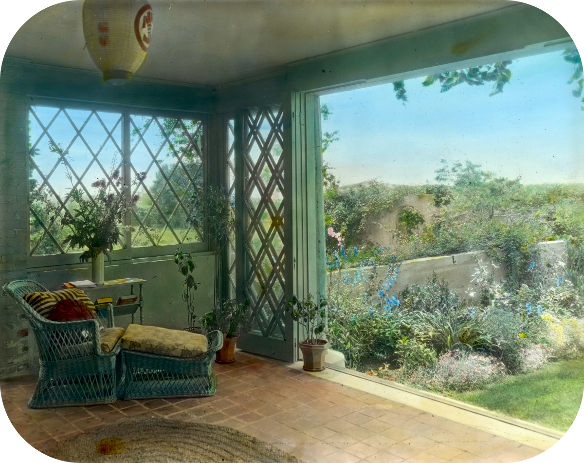'Gray Gardens,' Robert Carmer Hill house, Lily Pond Lane, East Hampton, New York. Sun-room overlooking walled garden
