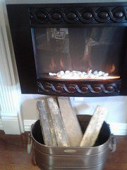 Artificial fireplace in doctor's office.