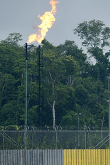 gas flaring at oil drilling site on the napo river