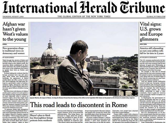 ROMA ARCHEOLOGIA, ARCHITETTURA e BENI CULTURALI - VIA DEI FORI: Rome mayor wants Forum area 100% pedestrian - Marino bucks critics on private traffic ban near landmarks | an office in Brussels, LA GAZZETTA DEL MEZZOGIORNO.IT (01|08|2014).