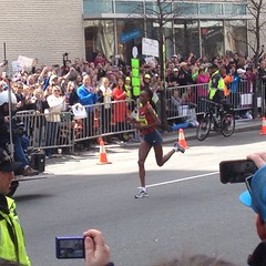 The First Lady crossing the finish line. #kenyanpower #princesdailyjournal #weruntogether #bostonmarathon #bostonstrong #womanpower #strength  #kenya