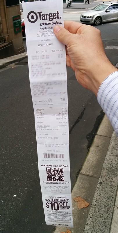 Target receipt