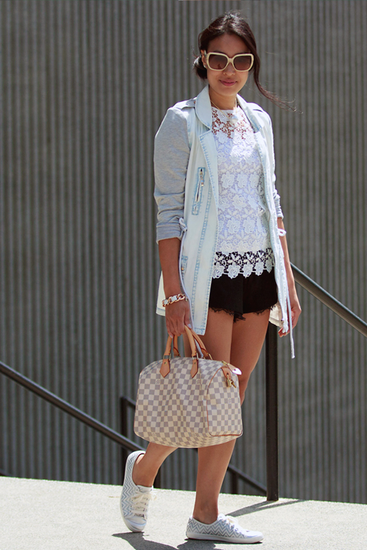 HRH Collection bleached denim jacket, Zara lace top, Zara lace trim shorts, Keds Rally silver chevron sneakers, Louis Vuitton Damier Azur Speedy, spring, Vancouver, fashion, style, blogger, HRH Collection Mermaid's Bubble Pearl Necklace, HRH Collection Oh So Couture Bracelet