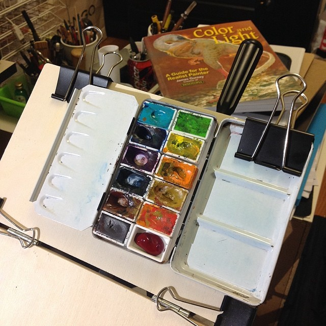 Preparing my watercolor palette