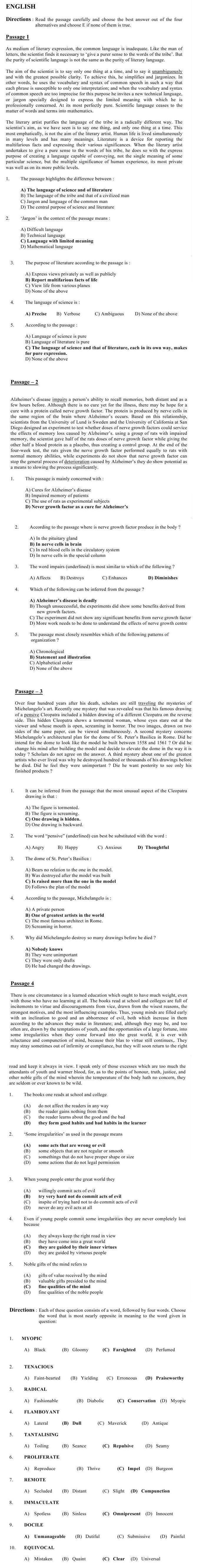 JEMAT Sample Question Paper 2014