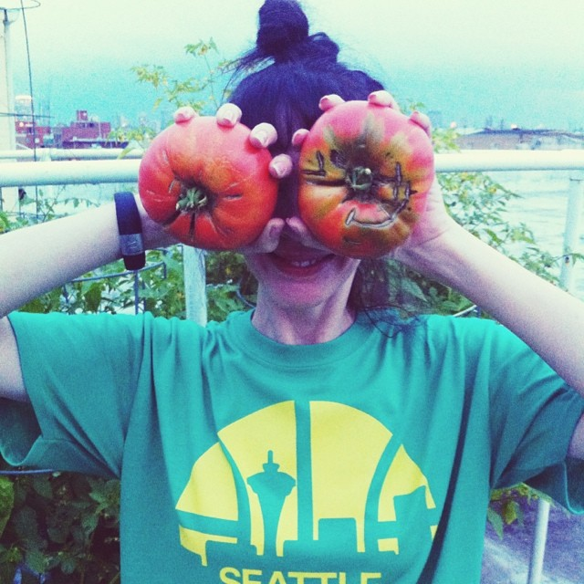 These tomatoes are 1 pound, 4 ounces EACH. I know! Monsters! #tomato #tomatoes #monster #red #brandywine #fresh vegetablegarden #rooftop #NYC #Brooklyn #vegetables #healthyeating #garden #gardening #urbanfarming #urbangarden #containergarden #harvest