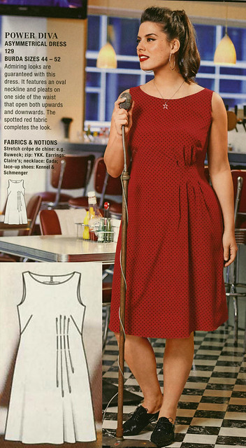 Burda-July-2014 Asymmetric Pleat Dress