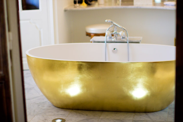 big gold bath tub