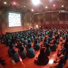 680 students strong at the #uwcsea_east middle school. Lovely first whole MS assembly! Wow day 1. You've been awesome so far! #love #build