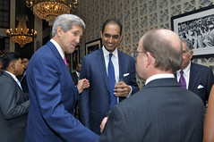 U.S. Secretary of State John Kerry meets with members of the Indian business community at the Roosevelt House -- the U.S. Ambassador's residence -- in New Delhi, India, on July 30, 2014. [State Department photo/ Public Domain]