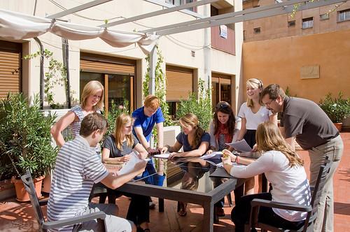 Students enjoy an outdoor class