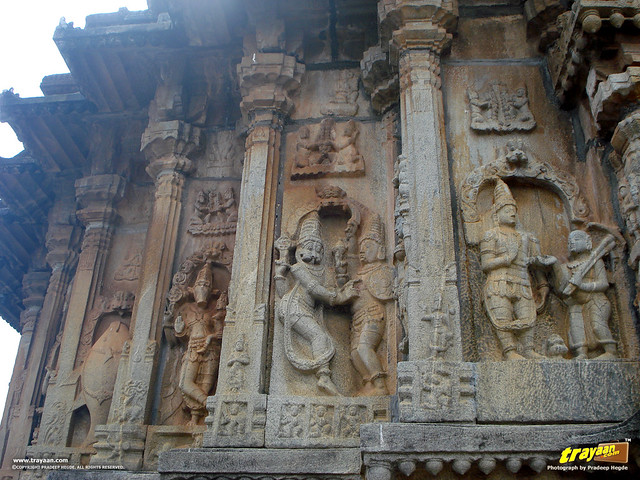 Sculptures of Lord Vishnu's Ten incarnations (Dashavatara), on the Western curved wall (rear side) of Vidyashankara Temple, in Sringeri, Chikkamagalur district, Karnataka, India