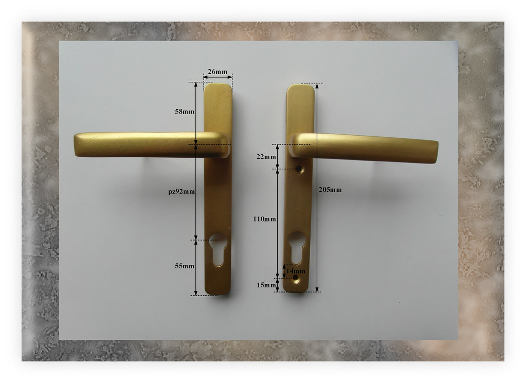 Rare old style roto fit pz92 inline handles for upvc door for Upvc french door handles