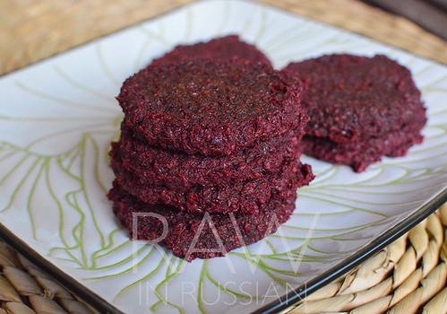 Raw beet burger