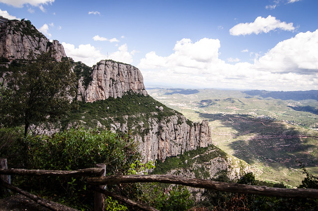 A fence is all that keeps visitors on the right side of the mountains at Montserrat.